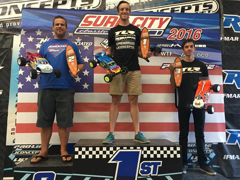 Stadium Truck podium (left to right): Steven Hartson/ Team Associated 2nd, Dustin Evans/ TLR 1st, Blake Beyett/ TLR 3rd.