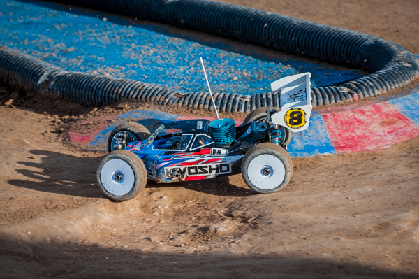 Kyosho's Jared Tebo is looking sharp in practice and negotiating the rough spots with seemingly ease.