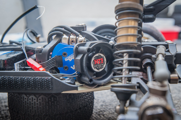 """The buggy is outfitted with a SchuurSpeed """"short stack"""" 17.5T racing motor with a WTF fan. Since today's buggy bodies don't have much airflow, Jason feels a powerful fan is important to maintain optimum operating temps and to make it more efficient. He solders it in directly to the battery."""