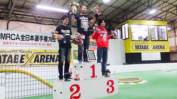 The 4WD Mod Buggy podium. 1st Naoto Matsukura/ Kyosho, 2nd Kaito Koddera/ Yokomo, 3rd Kohta Akimoto/ Kyosho.