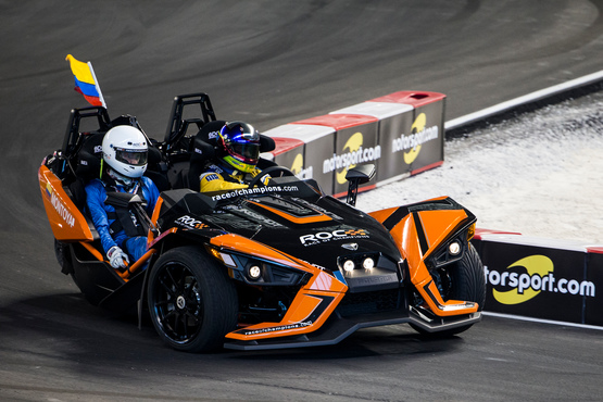 Juan-Pablo Montoya (COL) driving the Polaris Slingshot SLR on track during the Race of Champions on Saturday 21 January 2017 at Marlins Park, Miami, Florida, USA