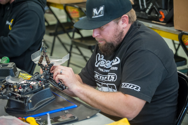 Wrenching and getting his Yokomo buggies ready for the 2017 Reedy Race of Champions next week.