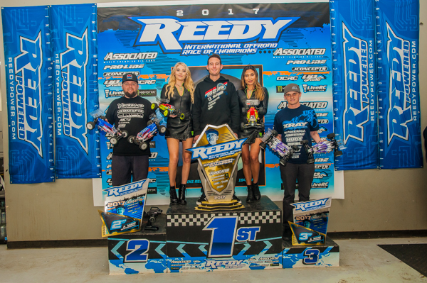 The Top 3 Invitational Class (left to right): Ryan Maifield/ Yokomo 2nd, Ryan Cavalieri/ Team Associated 1st, Ty Tessmann/ Xray 3rd.