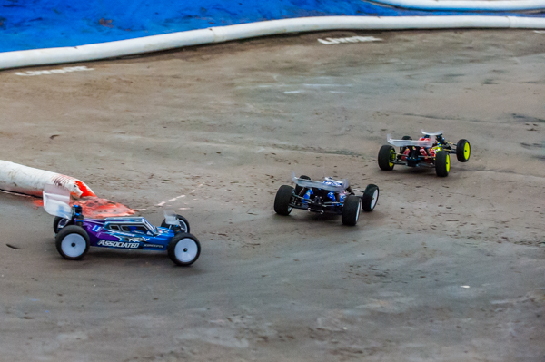 The Cavalieri, Maifield and Rivkin exit the first corner during the last race.
