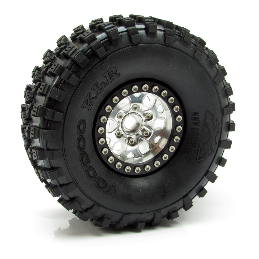 Gear Head RC 1.9' Silver & Gold Tombstone Beadlock Wheels (2)