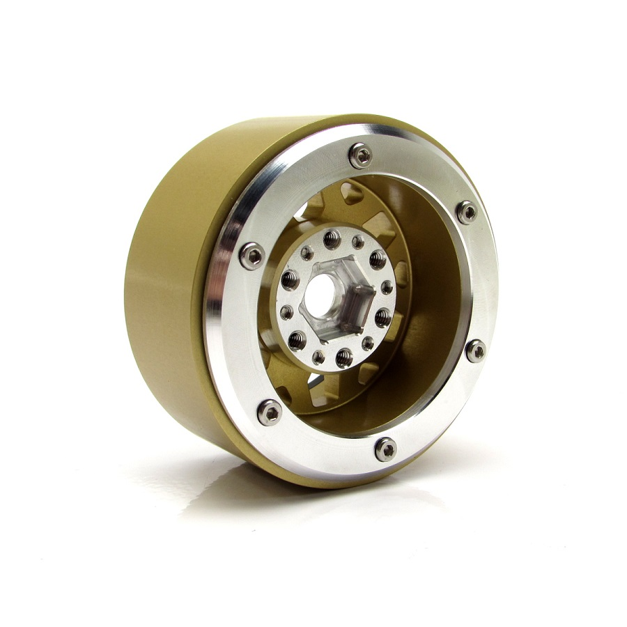 Gear Head RC 1.9' Silver & Gold Tombstone Beadlock Wheels (4)