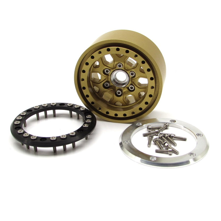 Gear Head RC 1.9' Silver & Gold Tombstone Beadlock Wheels (5)