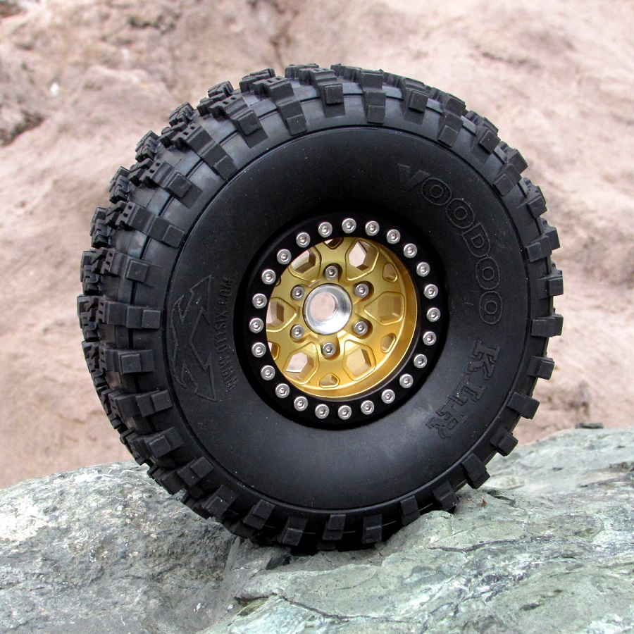 Gear Head RC 1.9' Silver & Gold Tombstone Beadlock Wheels (6)