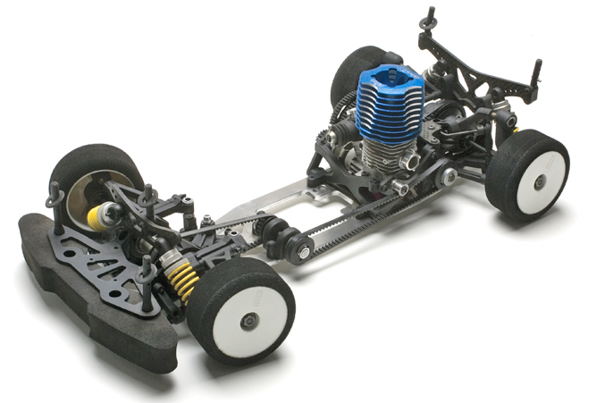 The top deck of this Serpent nitro touring car has been removed to show off its belt-drive system.