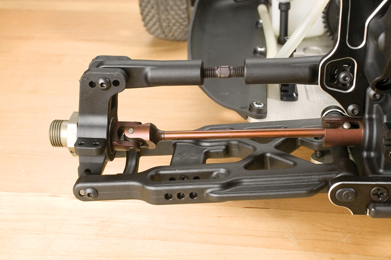 Here's a U-joint on an XRAY XB8 nitro buggy. It still has a dogbone on one end to compensate for suspension movement.