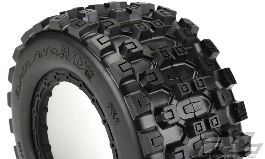 pro line badlands mx43 pro loc all terrain tires video rc car action. Black Bedroom Furniture Sets. Home Design Ideas