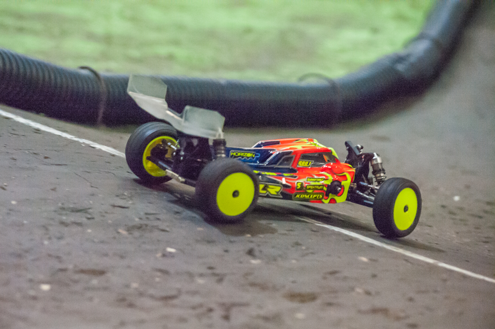 Laying down impressive laps with his TLR 22-4 at the 2017 April Fools Classic.