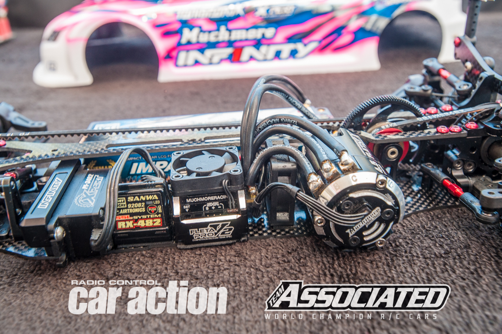 Marc uses a Much More Fleta Pro V2 with 0 boost and 20 turbo for settings. The motor is a Much More 4.5T with 12mm rotor.