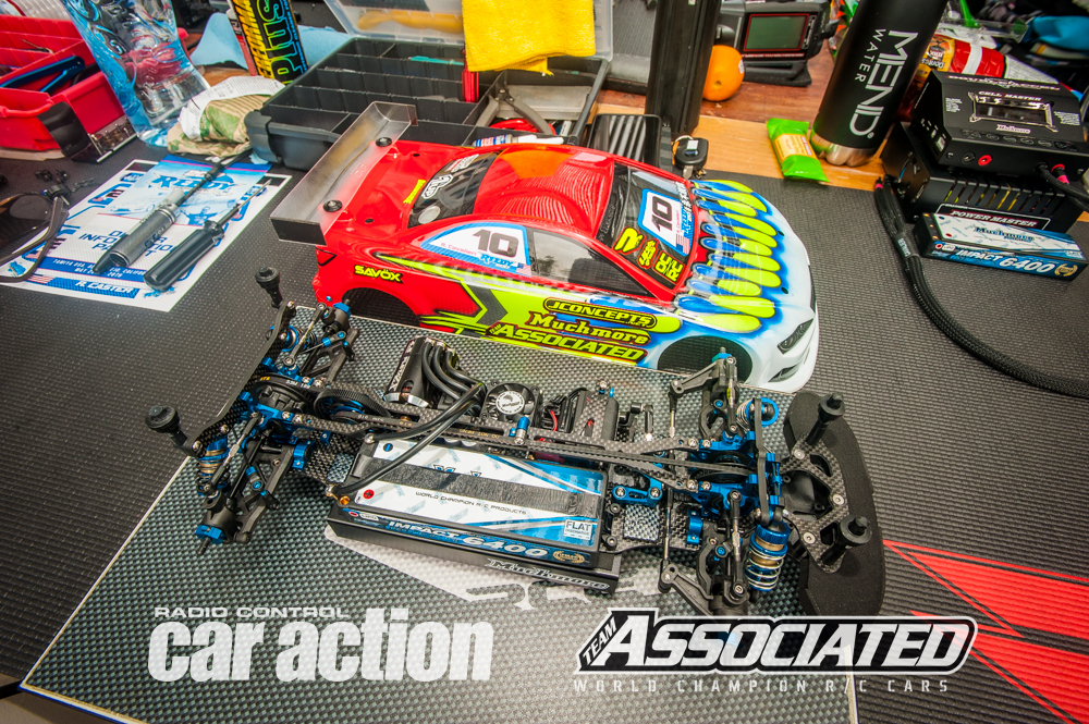 Ryan Cavalieri is using the newest Team Associated TC7.1 version with a few small tweaks.