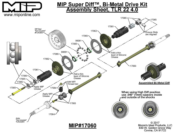 MIP Bi-Metal Super Diff TLR 22 4.0 13.5 Drive Kit (2)