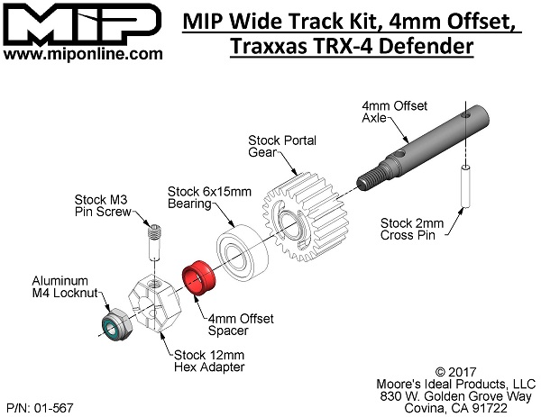 MIP Wide Track Kit (4mm Offset) For The Traxxas TRX-4 (4)