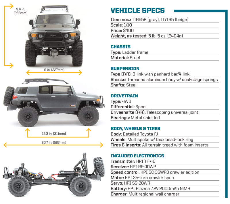 RC Review: HPI Venture FJ Cruiser - Vehicle Specs