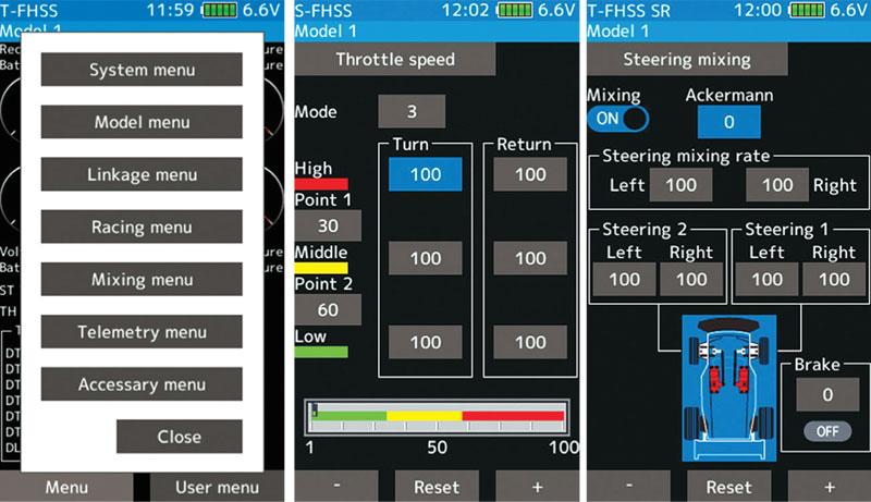 Futaba 7PX T-FHSS RC Radio - menu screen