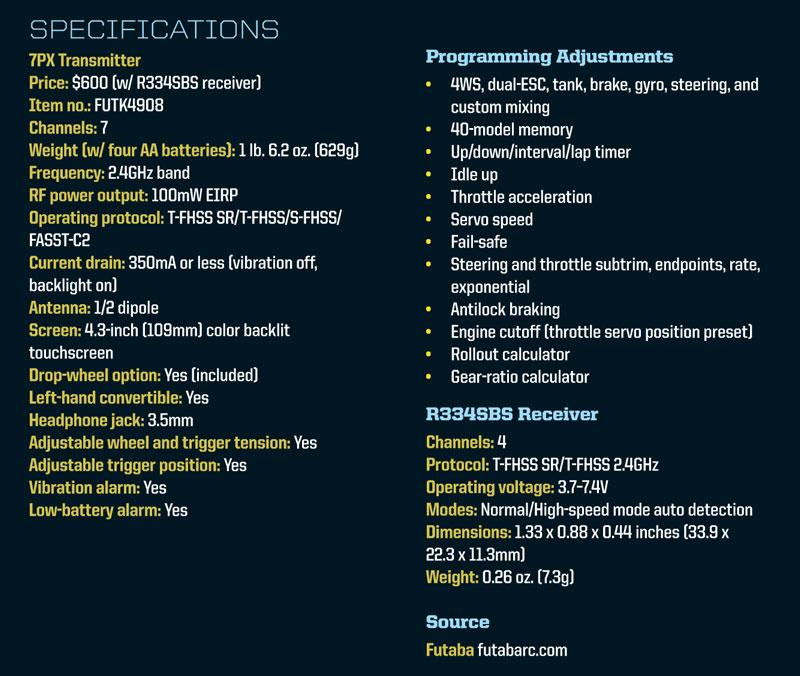 Futaba 7PX T-FHSS RC Radio - specifications