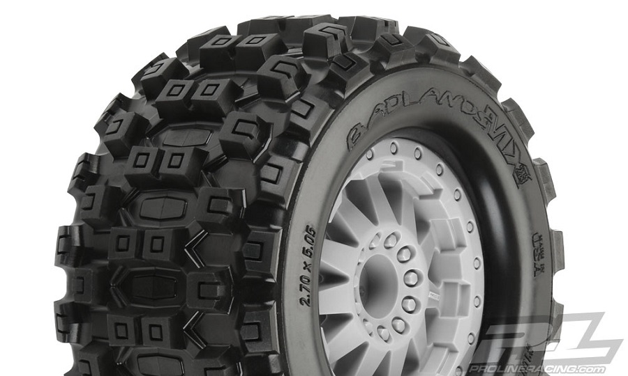 "Pro-Line Badlands MX28 2.8"" Tires Mounted On F-11 Wheels"