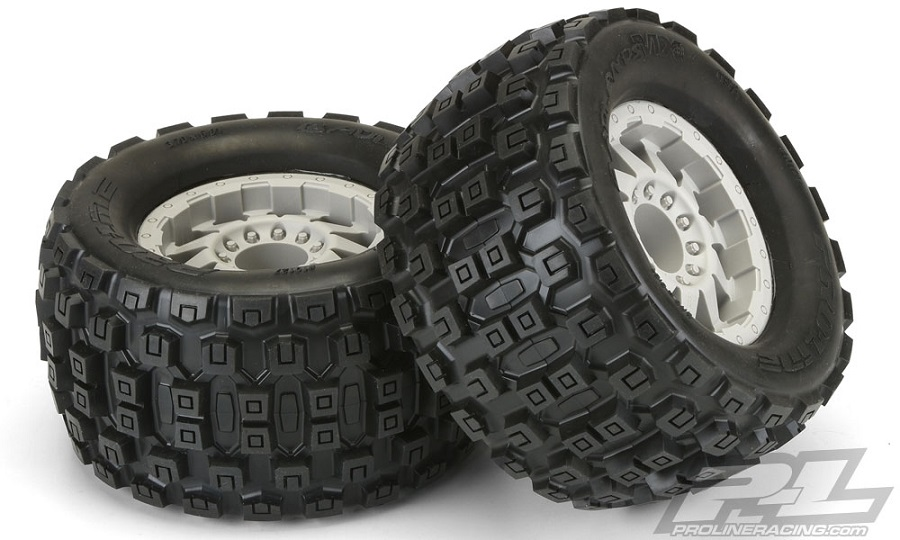 "Pro-Line Trencher X 3.8"" All Terrain Tires Mounted on F-11 Stone Gray 1/2"" Offset 17mm Wheels"