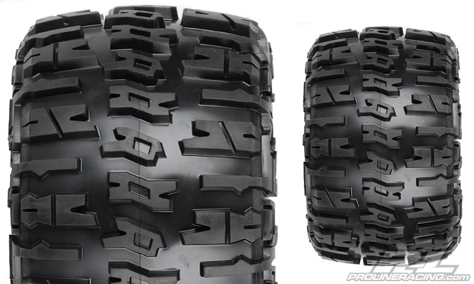"""Pro-Line Trencher X 3.8"""" All Terrain Tires Mounted on F-11 Stone Gray 1/2"""" Offset 17mm Wheels"""