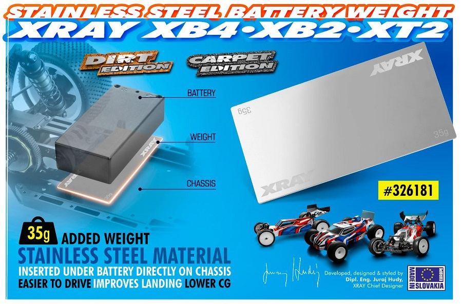 XRAY Stainless Steel 35g Battery Weight