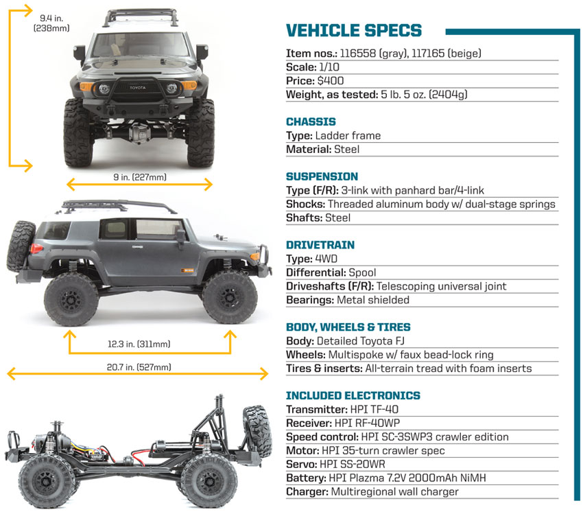 Review: HPI Venture FJ Cruiser -vehicle specs