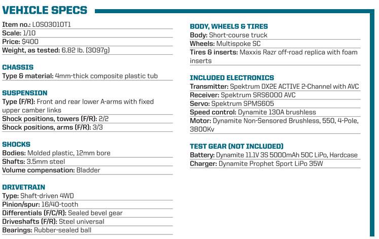 RC Review: Losi/Horizon Hobby Tenacity SCT - vehicle specs