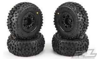 Pro-Line 4 Pack Of Pre-Mounted Badlands Tires On Split Six Wheels