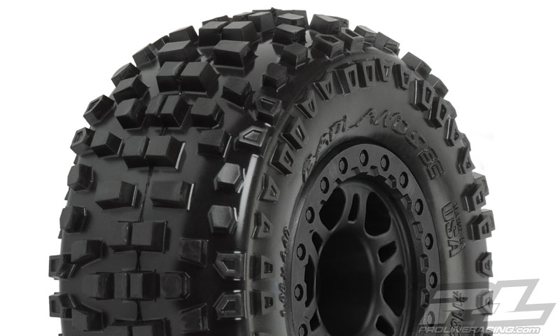 Pro-Line 4 Pack Of Pre-Mounted Badlands Tires On Split Six Wheels