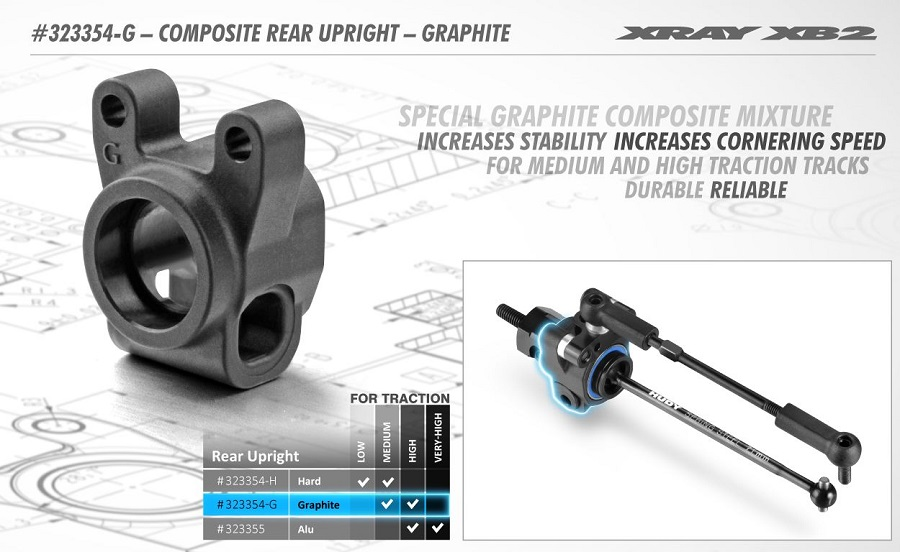 XRAY XB2 Graphite Composite Rear Upright