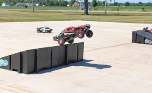 "The ""motocross"" course included four LandWave jumps that kept drivers in the air  as much as they were on the ground."