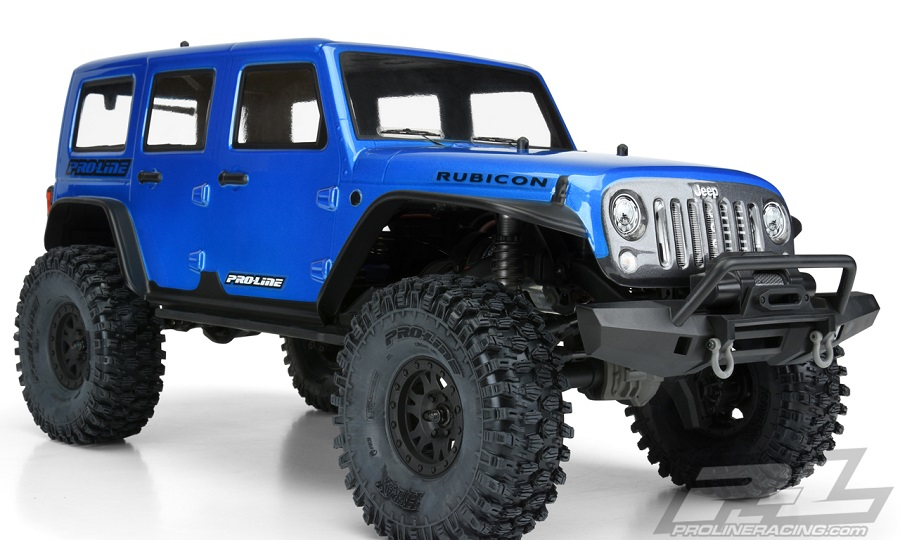 pro line pre painted cut jeep wrangler unlimited rubicon blue body rc car action. Black Bedroom Furniture Sets. Home Design Ideas