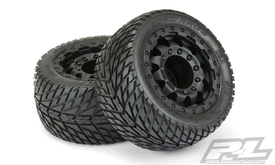 "Pro-Line Road Rage 2.8"" Street Tires Mounted On F-11 Black 17mm Wheels"