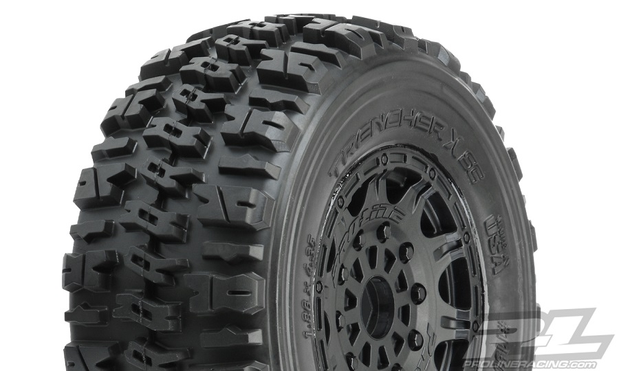 "Pro-Line Trencher X SC 2.2""/3.0"" Tires Mounted On Raid Black 17mm Wheels"