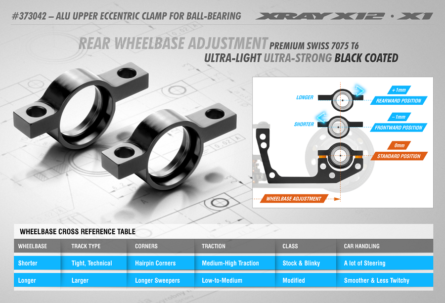 XRAY Aluminum Upper Eccentric Clamp For Ball-Bearing