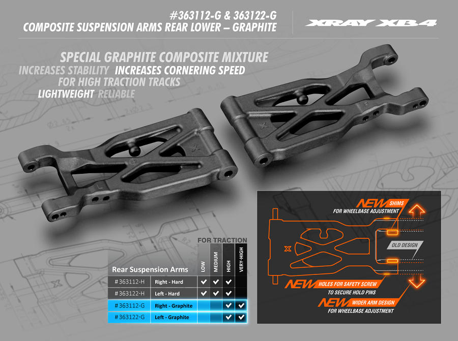 XRAY XB4 Composite Lower Graphite Rear Suspension Arms
