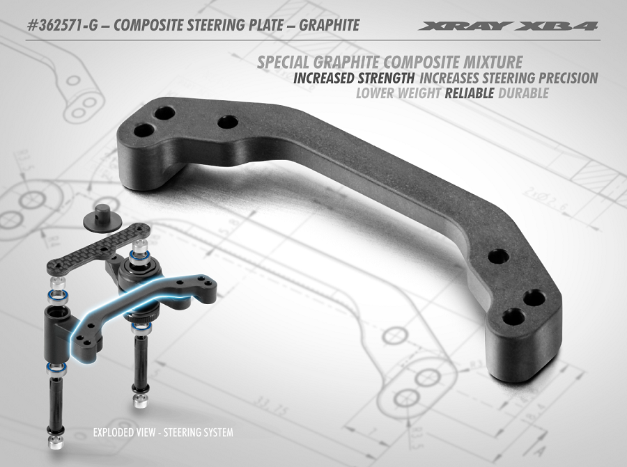 XRAY XB4 Graphite Composite Steering Plate
