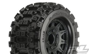 Pro-Line Badlands MX28 2.8″ All Terrain Tires Mounted On Raid Black Removable Hex Wheels