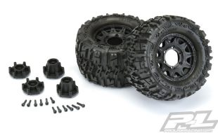 Pro-Line Trencher 2.8″ All Terrain Tires Mounted On Raid Black Removable Hex Wheels