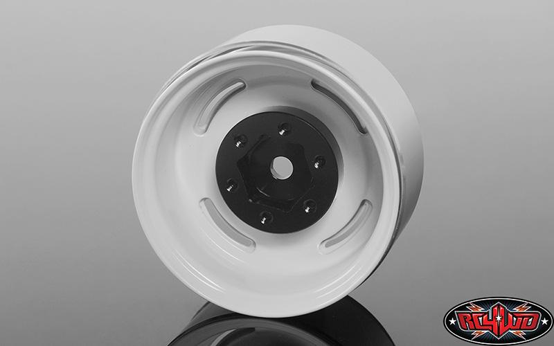 "RC4WD Vintage Yota 6 Lug Stamped Steel 1.55"" Beadlock Wheels (White)"