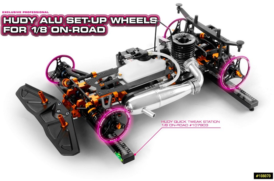 HUDY 1/8 On-Road Aluminum Set-Up Wheels