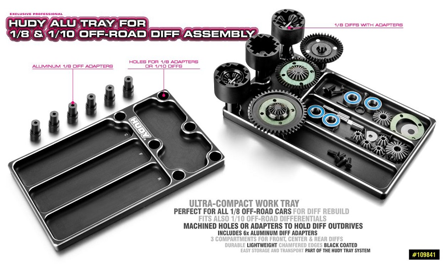 HUDY Aluminum Tray For 1/10 &1/8 Off-Road Diff Assembly