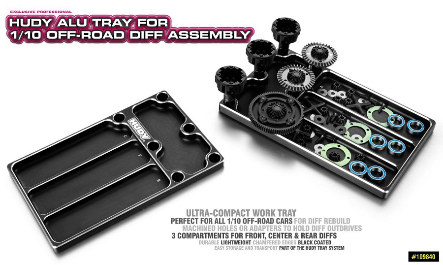 HUDY Aluminum Tray For 1/10 Off-Road Diff Assembly