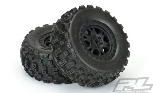 Pro-Line Badlands MX SC  Tires Mounted On Impulse Black Wheels