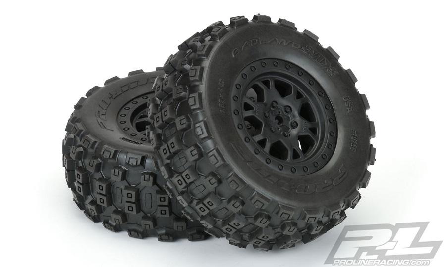 Pro-Line Badlands MX SC Tires Mounted On Impulse Black Wheels