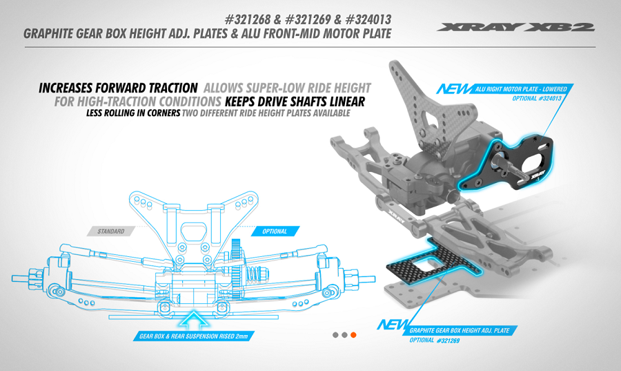 XRAY Graphite Gear Box Height Adjustment Plates