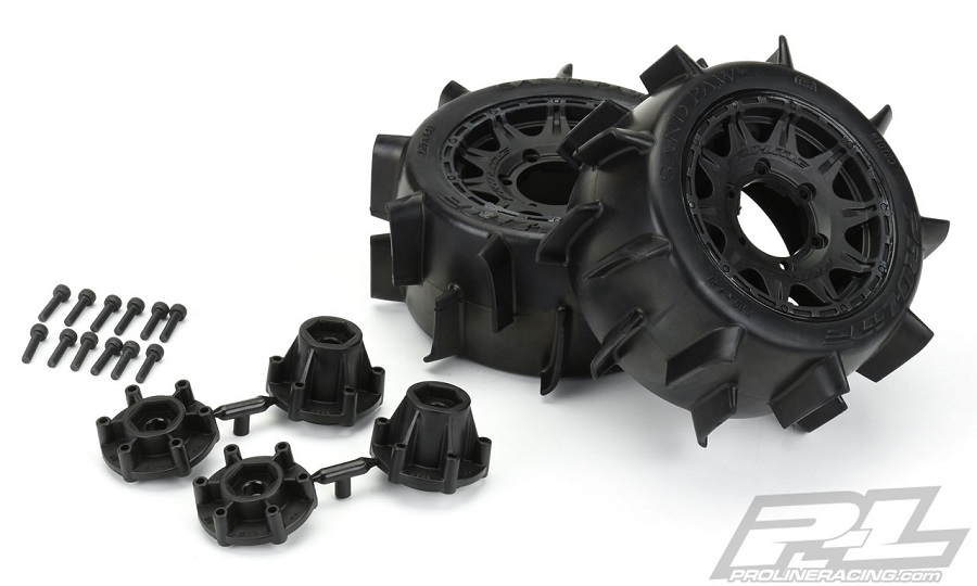 "Pro-Line Sand Paw LP 2.8"" Sand Tires Mounted On Raid Wheels"