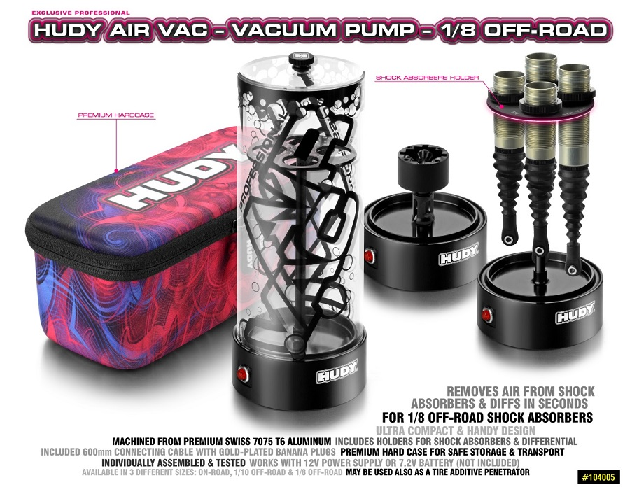 HUDY Air Vac Vacuum Pump For 1/8 Off-Road Vehicles